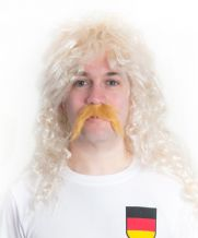 Rudi Völler Style 1980's Mullet Football Fancy Dress Wig & Moustache